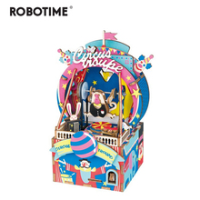 Robotime DIY 3D Amusement Park Wooden Puzzle Game Assembly Moveable Music Box Toy Gift for Children Kids Adult AMD41