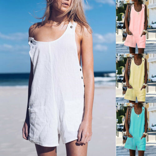 Women's Summer Casual Sweet Cute Solid Loose Linen Cotton   Jumpsuit   Dungarees Playsuit Trousers Overalls