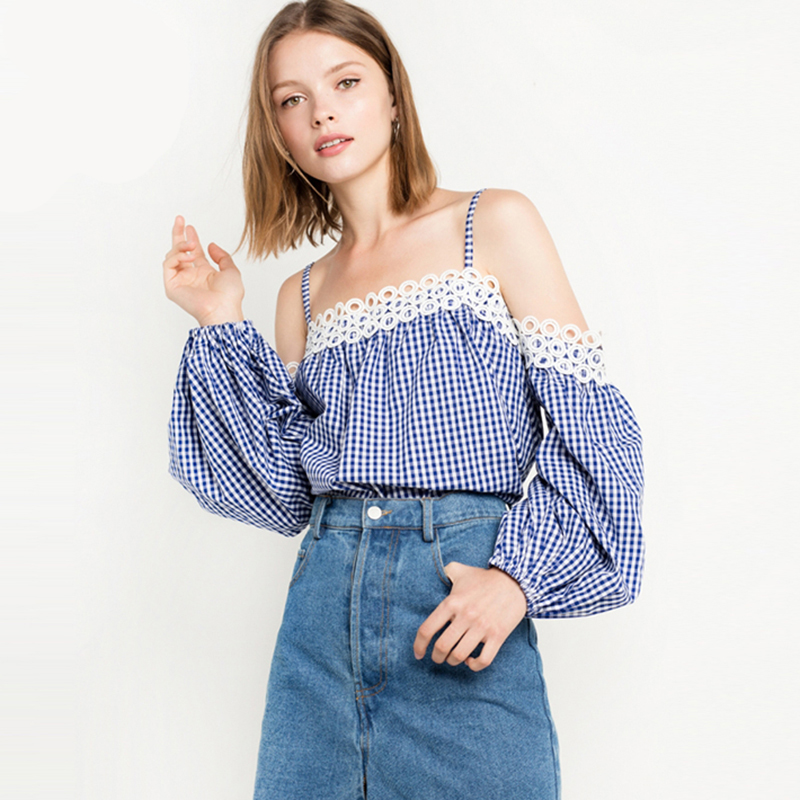 Balloon sleeve strappy cold shoulder plaid blouses women chic long sleeve  sexy bardot shirts ladies cotton blue white check tops-in Blouses   Shirts  from ... be7d404c8