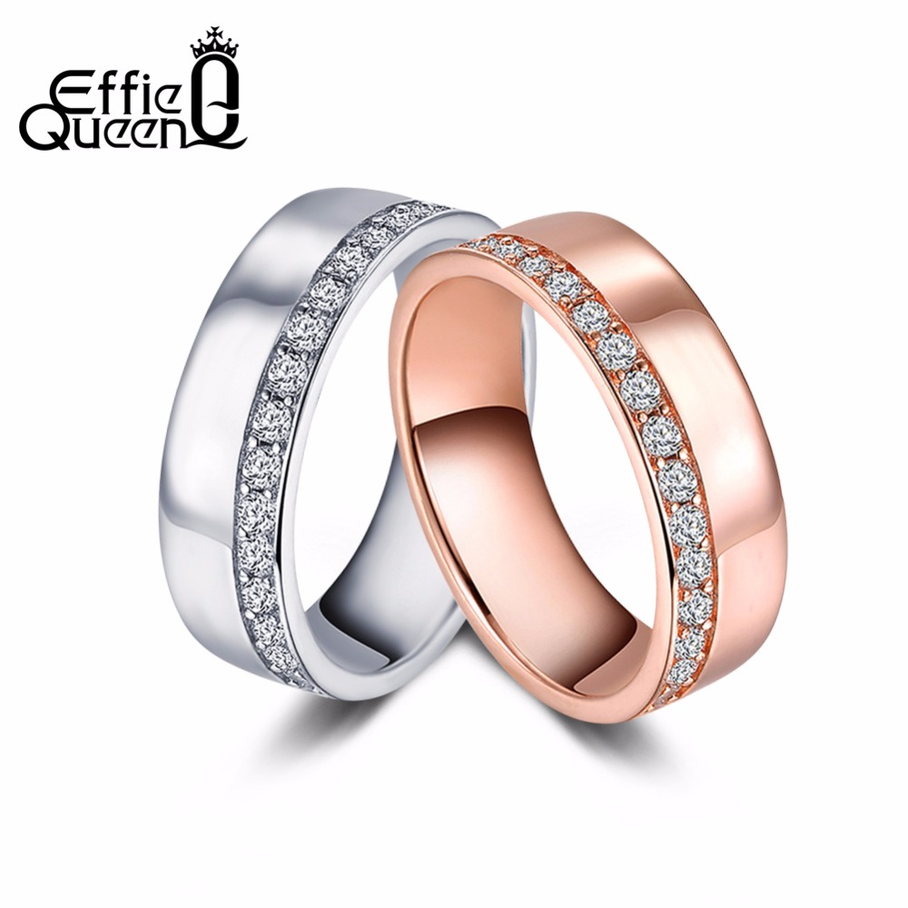 Effie Queen Vrouwen Wedding Band Eternity Ringen Rose Goud-kleur - Mode-sieraden