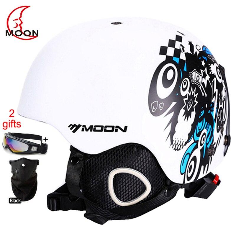 Luna de Skateboard de nieve, esquí, Snowboard, casco moldeado integralmente ultraligero y transpirable casco de esquí de certificación CE S/M/L /XL