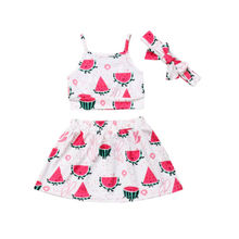 Хлопковый Летний жилет для маленьких девочек; топы; юбка; повязка на голову