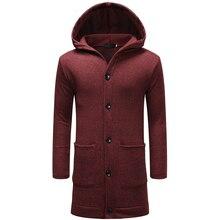 2018 new long hooded sweatshirt men single button mens hoodie good quality jacket hood