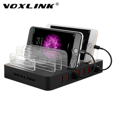 VOXLINK 8 Port Desktop USB Charger Multi-Device 96W USB Charging Station Dock with Stand EU Plug For iPhone 7/7 Plus iPad Pro