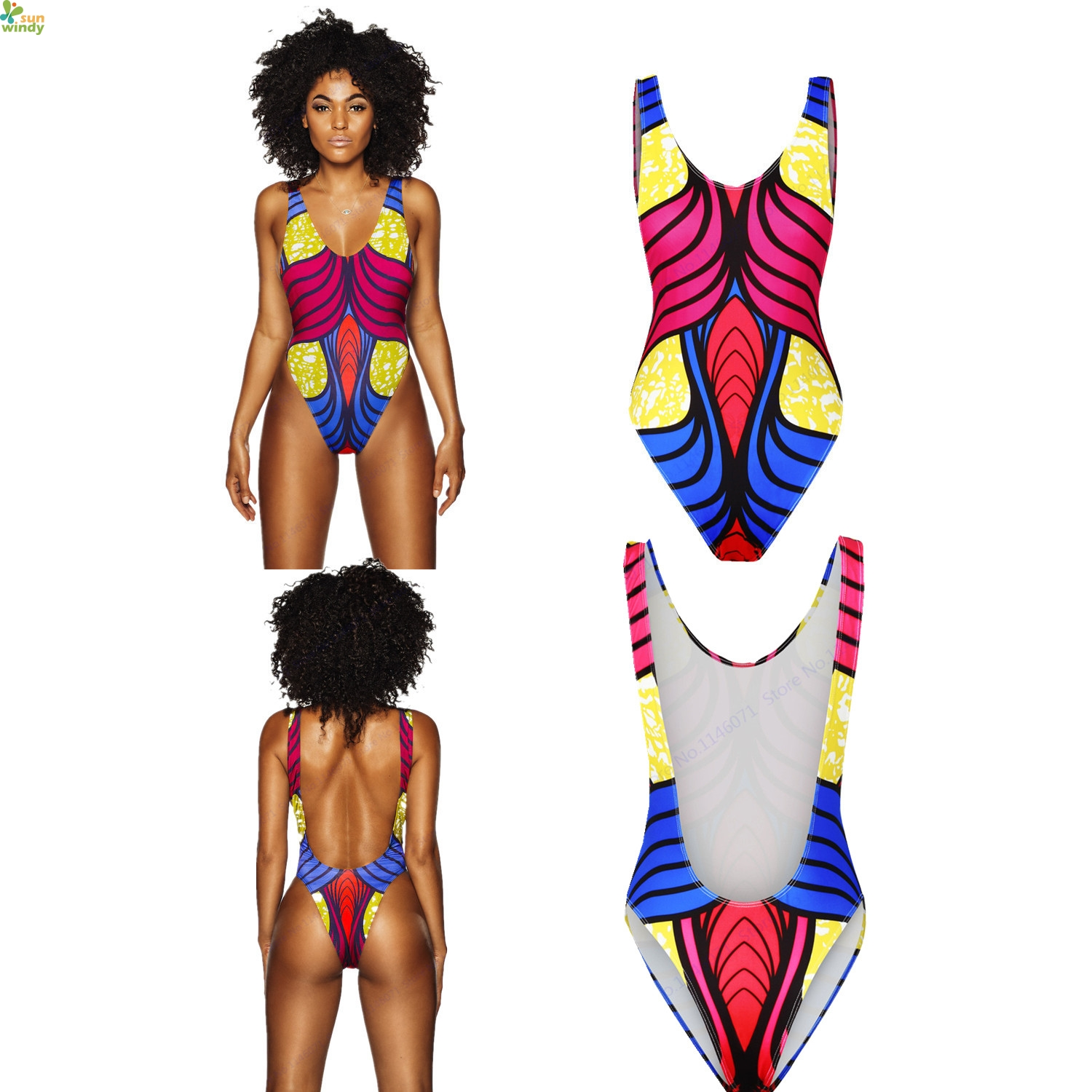 de9569ec56 Multicolor Stripes Bathing Suit Women's Backless One Piece Monokini Bikinis  Sexy High Cut Bathing Suits U Back Brazilian Biquini-in Body Suits from  Sports ...