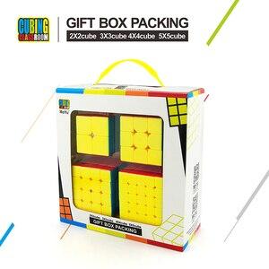 Image 2 - 4pcs סט עקוב מהירות צרור Moyu MofangJiaoshi 2x2 3x3 4x4 5x5 meilong Qiyi קסם קוביית אריזה צעצועים חינוכיים לילדים