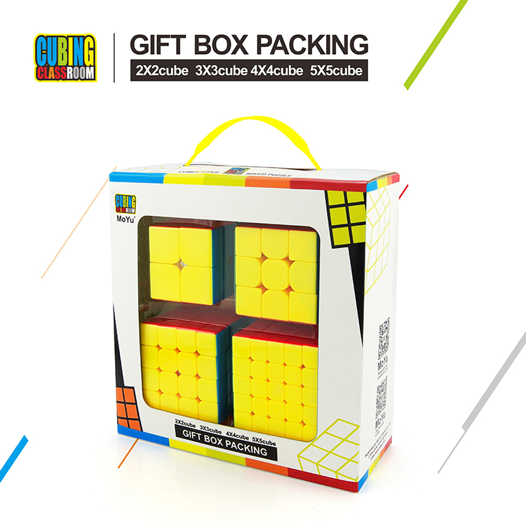 4pcs/set Speed Cube Bundle Moyu MofangJiaoshi 2x2 3x3  4x4 5x5 Meilong Stickerless Magic Cube Set Educational Toys For Children