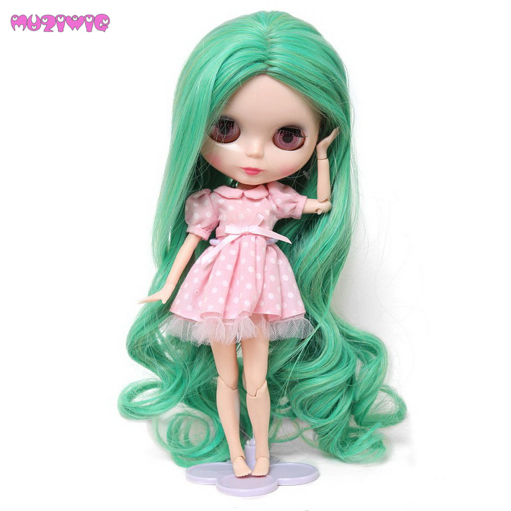 Friendly Muziwig Long Loose Big Curly Green Blended Color Blyth Doll Hair Wigs