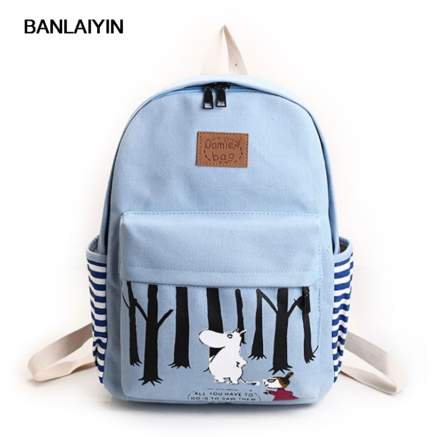 Animals Printing Women Canvas Stripe Backpack School Bags For Teenagers Preppy Students Boy Girls Casual Travel