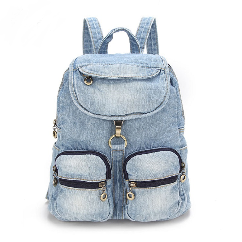 Blue Vintage Casual Preppy Style Pockets Denim Backpack School Bags Jeans Women Daypacks CrossBody bag bolsa feminina 3849 fashion denim backpack preppy style casual shoulders double shoulder bag schoolbag style blue x 59966