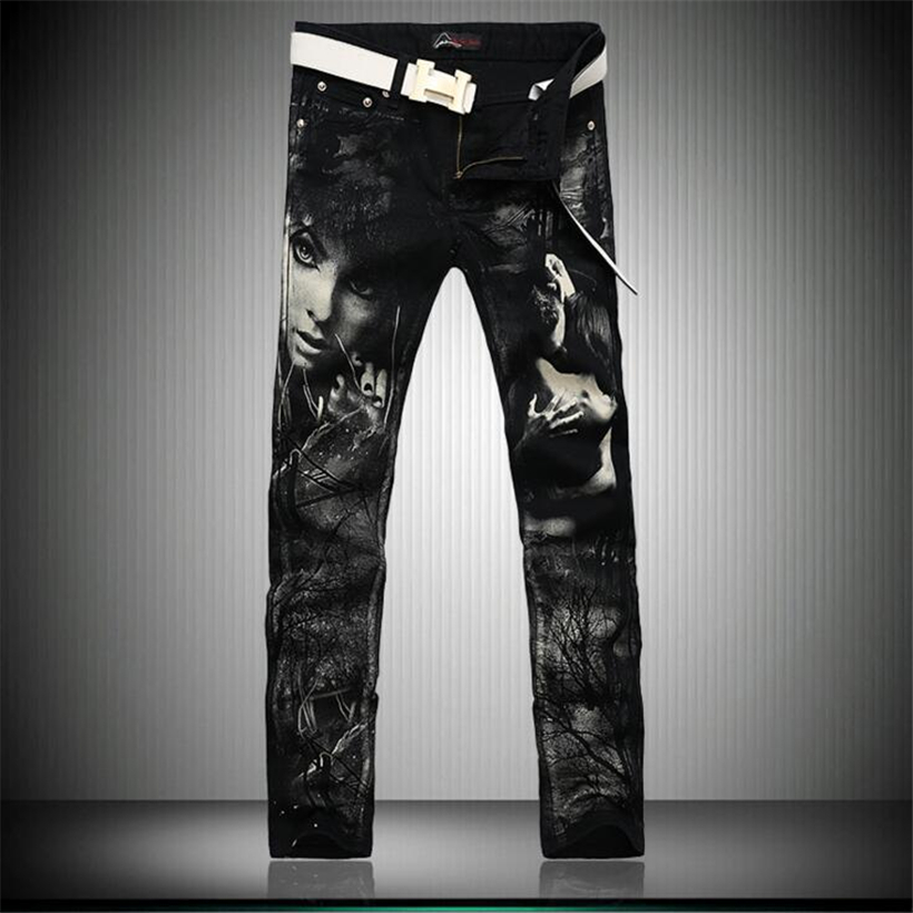 ФОТО 2017 new arrived black jeans men slim winter jeans hip hop jean skinny Characters printed biker jeans homme pantalones hombre