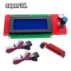 1 pçs lcd 2004 painel de controle tela controlador inteligente para reprap 3d peças da impressora makerbot kossel prusa i3 ramps1.4 1.6