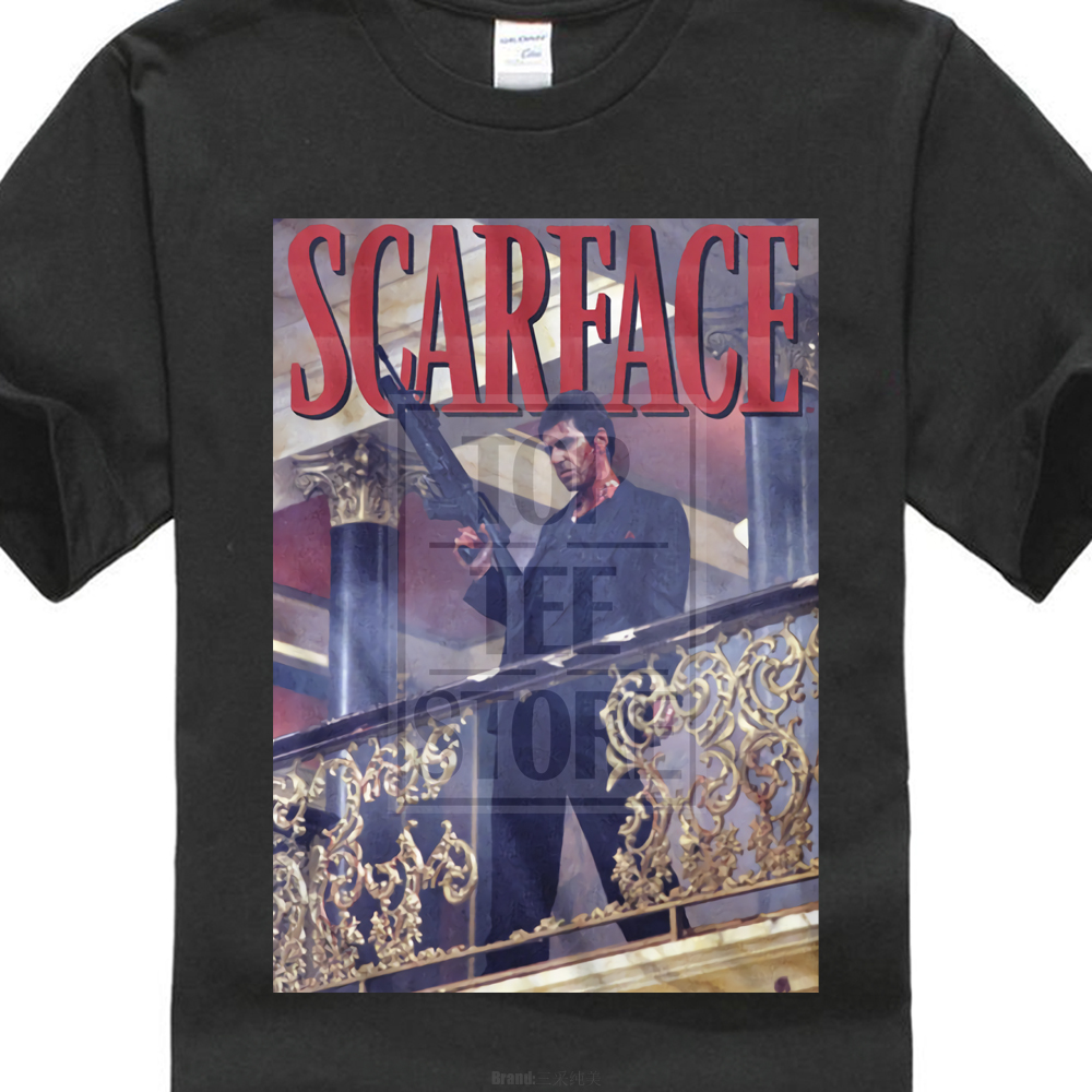 Mens Official Scarface Movie Al Pacino T Shirt Railing Shot Black Cotton S 4Xl ...
