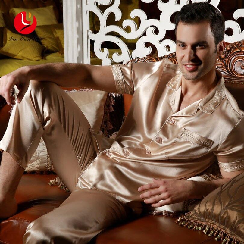 LIN YUN Man Pajama Sets 2017 Summer Button Sleepwear Casual Real Silk Nightgown Set Men's Sleep Lounge Short Sleeve Pajamas