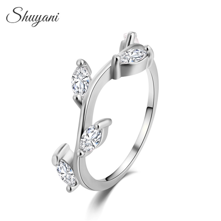 Shuyani Jewelry Simple Silver Rose Gold Color Ring Women Aaa