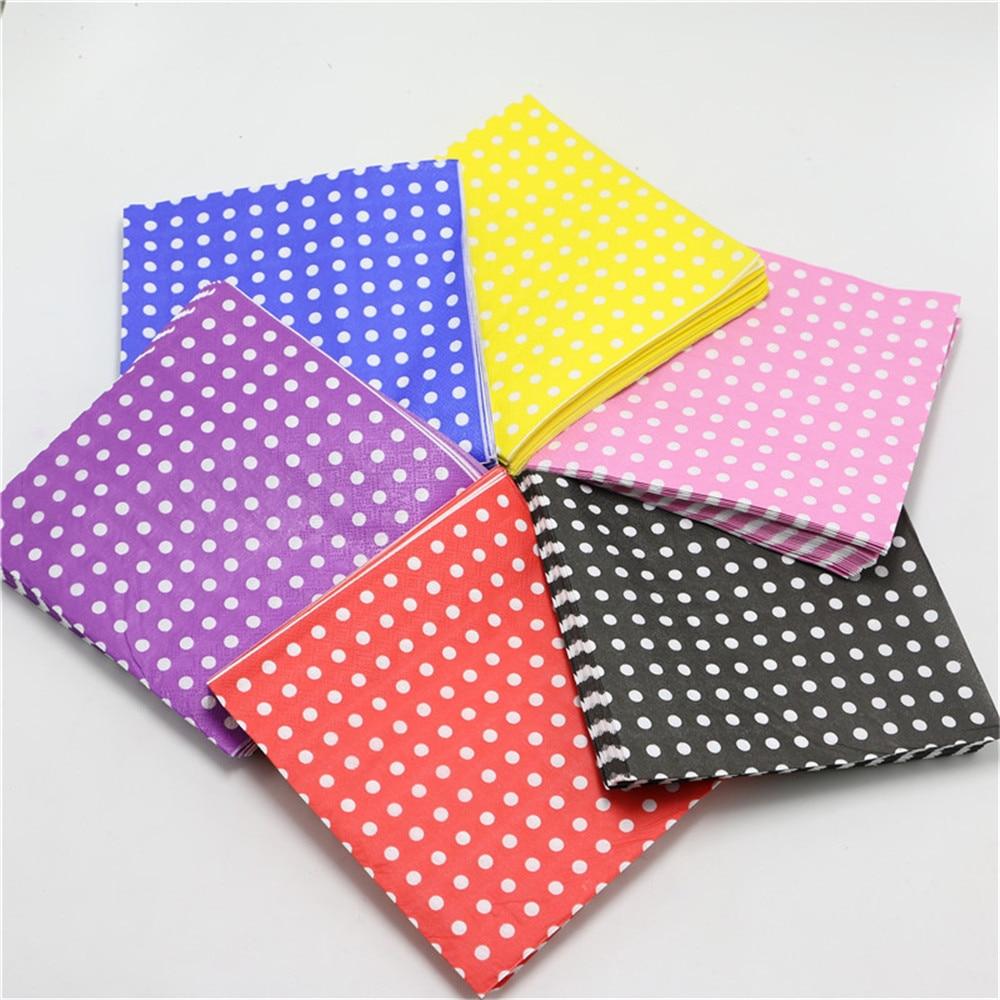 20 unids/lote cartoon polka dot papel servilletas tejidos 33*33 cm para la fiest