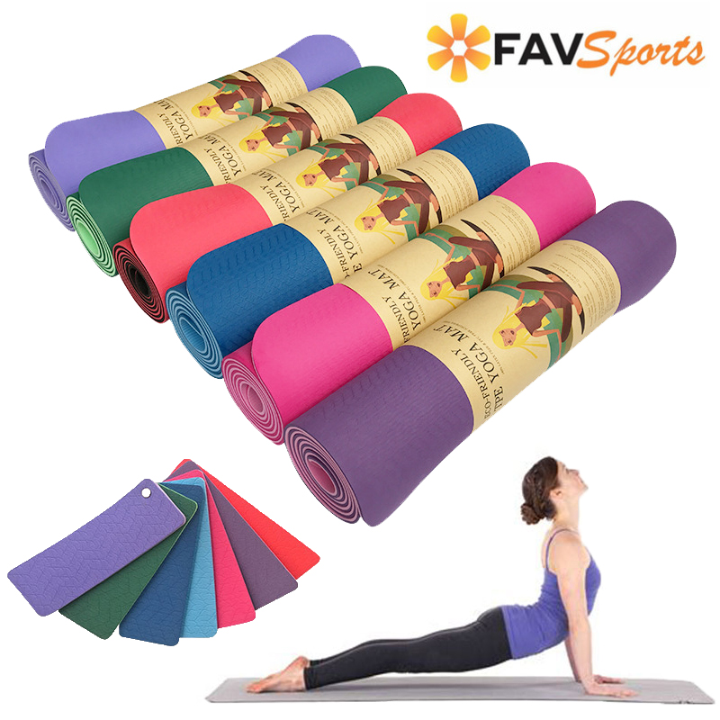 6 MM TPE exercices antidérapants tapis de Yoga sans goût Fitness Pilates 7 couleurs sport tapis de Gym Pad avec sangle de Yoga