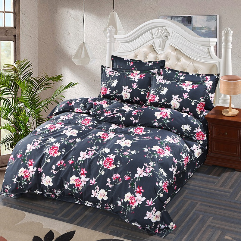Flower Stripe Bed Linen Bedding Set Home Textiles 4pc Family Set Include Bed Sheet Duvet Cover Pillowcases Full Queen King Size in Bedding Sets from Home Garden