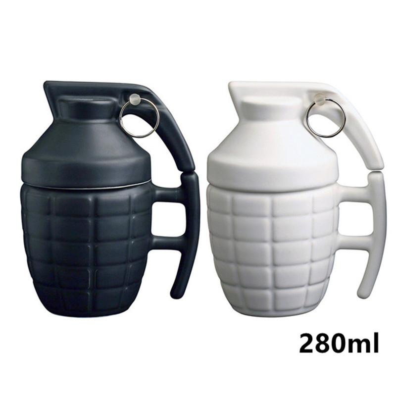 New Creative Grenade Drinkware Mugs Ceramic Water Coffee Tea Mug Cup With Cover Lid White black