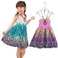 2017 Новый 2-7 Т девушки одевает лето богемный стиль платья для девочек Мода Длиной До Колен девушки пляж платья сарафан с ожерельем