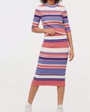 Лучший!  Женский комплект из 2 частей Полосатый свитер с рукавами + Повседневные юбки с завышенной талией Три �