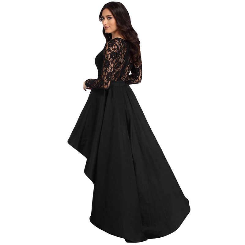 Sebowel Long Sleeve Lace Satin High Low Skater Dress Woman Elegant Sheer Party Night Ladies Female Bodice Dresses Autumn Spring