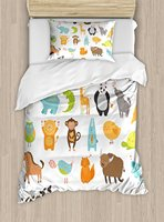 Kids Duvet Cover Set Pattern with Zoo Animals Love Hearts Art Baby Shower Party Decorations, 4 Piece Bedding Set