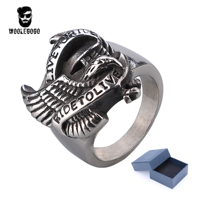 Mens Biker Rings Live To Ride Eagle Ring Vintage Stainless Steel Men
