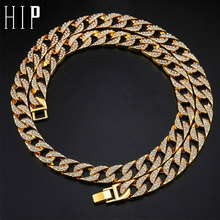 Hip Hop Miami Curb Cuban Chain Necklace 14mm Gold Iced Out Paved Rhinestones CZ Bling Necklaces Men Rapper Jewelry недорого