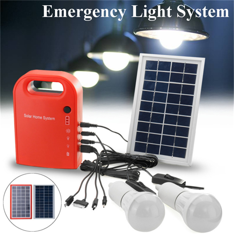 Mising Solar Panel Emergency Light Outdoor Camping Solar LED Lights Garden Home Security Light Lamp with LED Bulbs