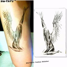 Nu-TATY Angel Wings Temporary Tattoo Body Art, 12x20cm Flash Tattoo Stickers, Waterproof Fake Tatoo Henna Tatto Wall Sticker