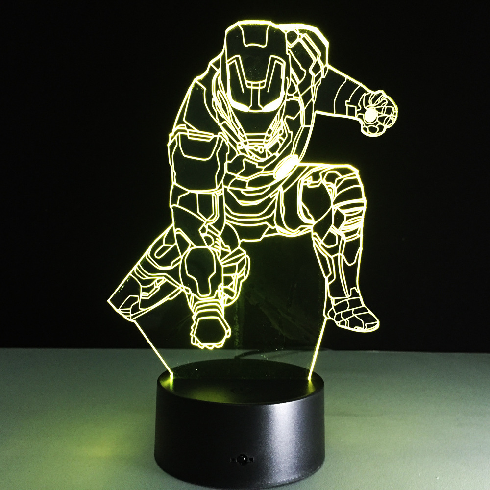 Color Changing 2018 remote Avengers Mavel 3D lamp LED Night Light IRON MAN 3D illusion night lamp table desk lamp home lighting novelty 3d full moon lamp led night light usb rechargeable color changing desk table light home decor 8 10 12 15 18 20cm
