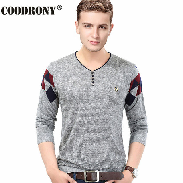 Free Shipping 2016 Autumn Winter New Fashion Button V-Neck Sweater Men Knitted Cashmere Wool Pullover Shirt Men Pull Homme 66151