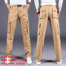 Cargo Pants Men Plus Size Casual Pants Multi Pockets Straight Cotton Trousers Extra Large 48 Khaki Army Green Safari Mens Pants