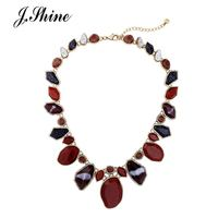 JShine Brand Multi Color Geometric Statement Necklace Charming Gold Color Alloy Vintage Maxi Necklace Fashion Jewelry