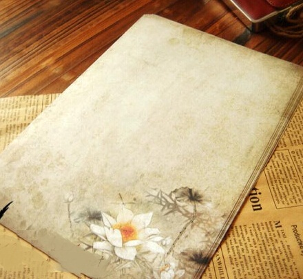 Hot selling 250*170mm.retro Japan Nature Lotus retro Kraft letter paper set with notes.greeting letter paper