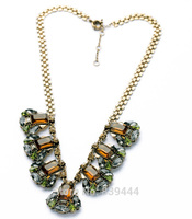 2014 Fashion Prom Special Jewelry Wholesale Elegant Party Gem Stone Pendant Necklaces Wide Gold Color Chain Necklace