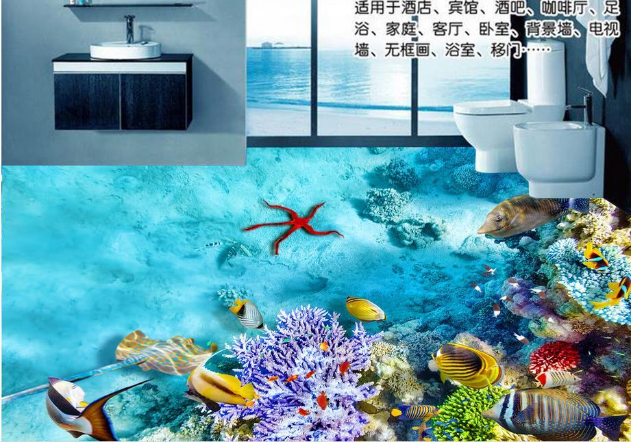 ФОТО custom adhesive vinyl rolls 3d floor tiles modern wallpaper Color coral fish 3d flooring waterproof wallpaper for bathroom