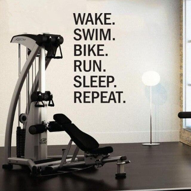Triathlon Motivational Wall Decal. Wake. Swim. Bike. Run. Sleep. Repeat Wall Stickers Home Decor Living Room