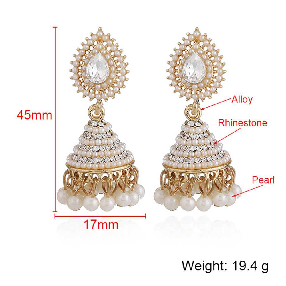 e944dcedd Boho Faux Imitation Pearl Drop Earrings Women Indian Jhumka Jhumki Tassel  Earring Gold Long Wedding Bridal Party Jewelry-in Drop Earrings from  Jewelry ...