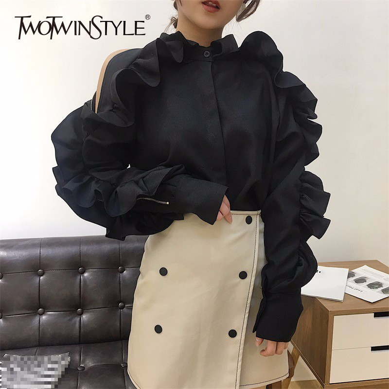 TWOTWINSTYLE Off Shoulder Shirt Female Ruffles Patchwork Lapel Collar Zipper Long Sleeve Blouse Women 2019 Spring Korean Clothes