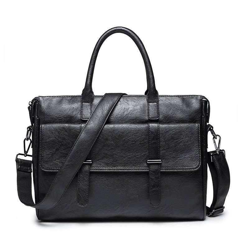 Luxury Brand Men Business Briefcase PU Leather Man Handbag Casual Solid Travel Laptop Bags Male Fashion Shoulder Bag Soft Tote