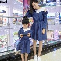 Famli 1pc Mom Baby Girl Jean Patchwork Dress Like Mother Daughter Spring Full Sleeve Denim Dresses