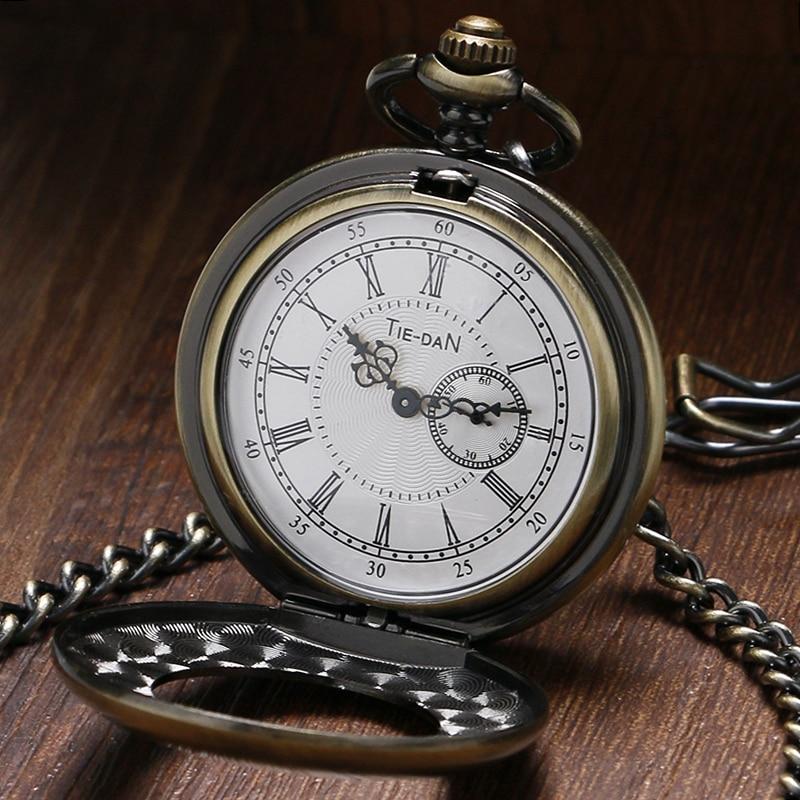 Half Hunter Bronze Quartz Pocket Watch Unique Small Second Dial Vintage Pocket Pendant Clock With Chain Gift Reloj De Bolsillo