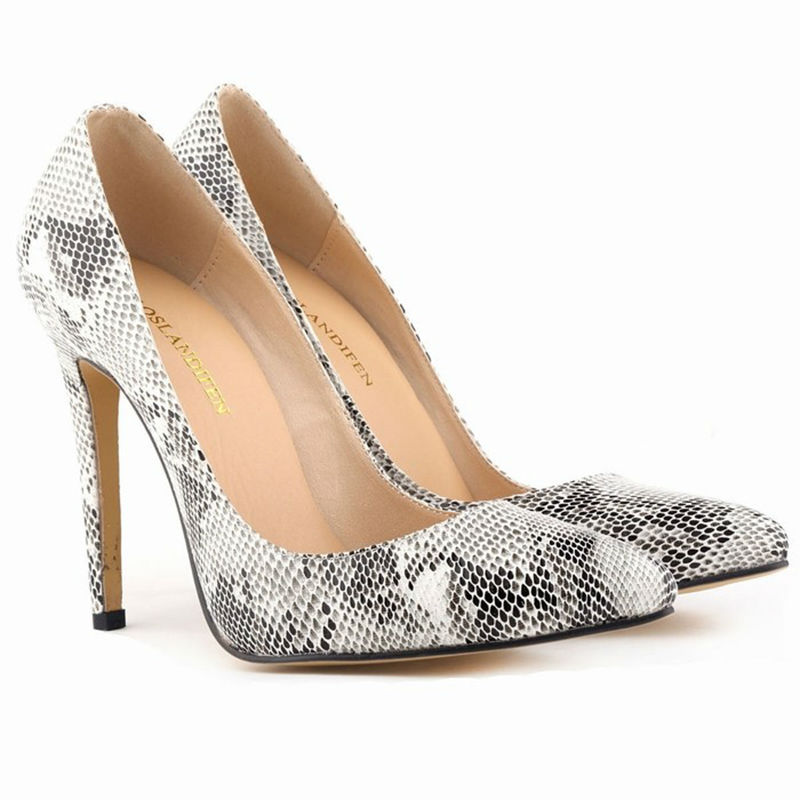 9bf51b98b2c New woman sexy pointed toe thin faux snakeskin high heels zebra classic  pumps wedding party work shallow mouth snake women shoes