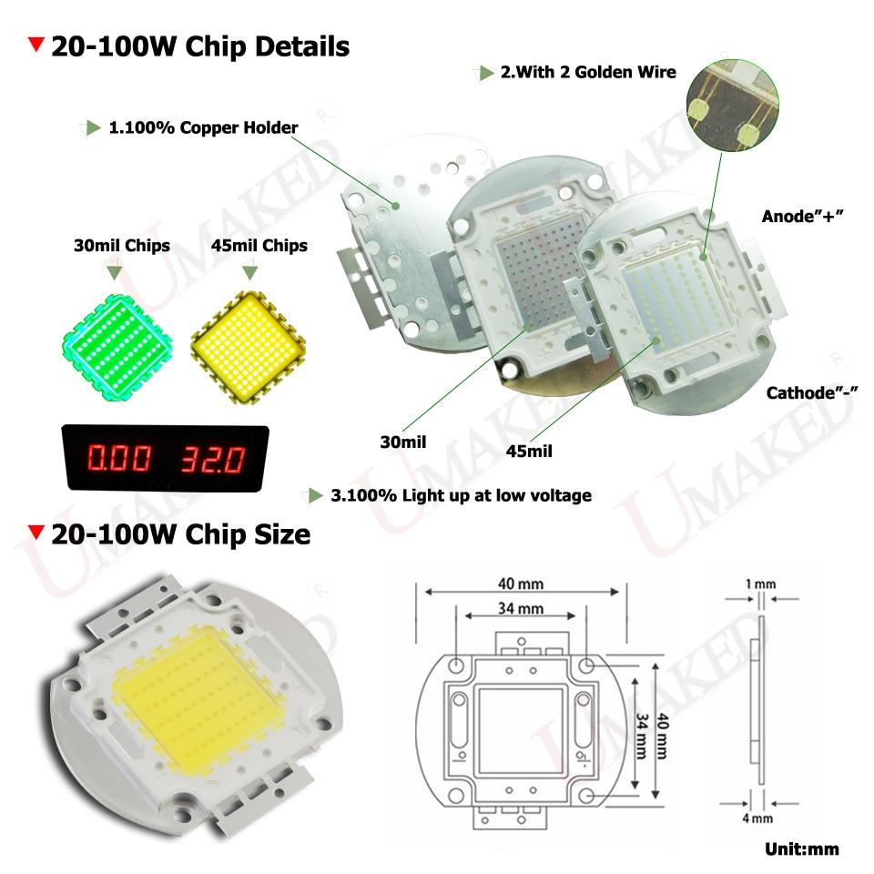 Umaked High Power Led Smd Cob Bulb Lamp Chip 1w 3w 5w 10w 20w 30w Wiring Diagram 50w 100w Natural White 4000 4500k 1 3 5 10 20 30 50 100 Watt In
