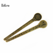 BoYuTe (10 Pieces/Lot) 1.20mm5MM Cabochon Base Vintage Accessories Parts Alloy Antique Bronze Ruler Bookmark for Jewelry Making