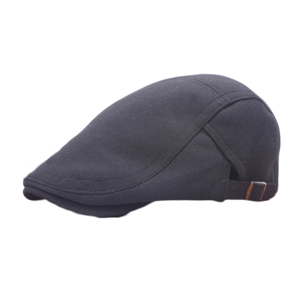 Unisex Vintage Newsboy Cabbie  Flat Cap Black Gray Cotton Driving Beret Hat