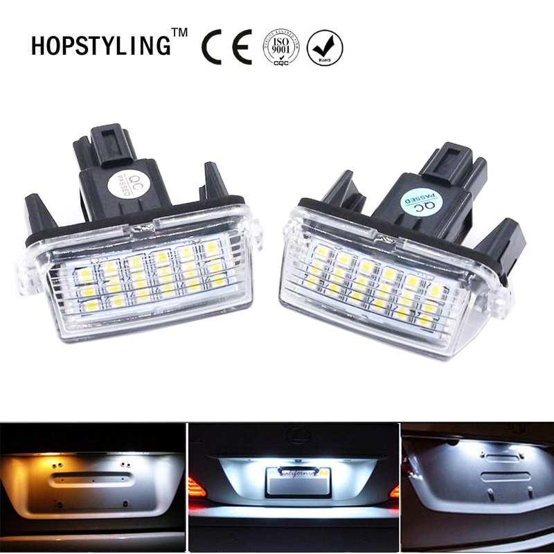 HOPSTYLING 2PCS For Toyota Yaris/Vitz Camry Corolla Prius C Ractis Verso S Led Licence Number Plate LED Lamp Light OEM REPLACE kalaisike leather universal car seat covers for toyota all models rav4 wish land cruiser vitz mark auris prius camry corolla