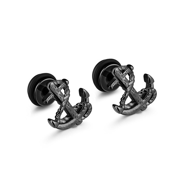 Fashion Vintage Design Anchor Stud Earrings For Women Men High Quality Stainless Steel Earring 3 Colors